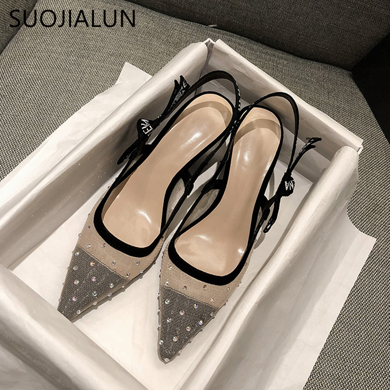 SUOJIALUN New Brand Women Sandal Med Heel Slip On Slides Fashion Mesh Fabric Pointed Toe Women Casual Shoes Outdoor Pumps Slides