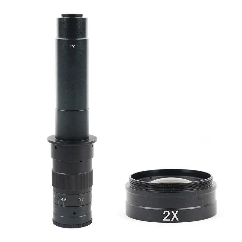 Lentilles optiques Max 600X 360X Zoom réglable C monture lentille pour HDMI VGA USB industrie vidéo Microscope caméra
