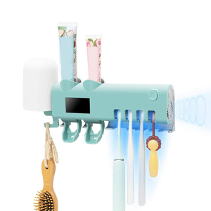 Toothbrush Holder 2 Toothpaste Dispenser Bathroom Toothbrush Holder Wall Mounted with Drying Function,Timing Function