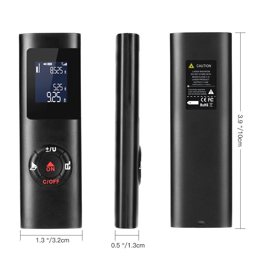 LAMEZIA Mini przenośny ręczny 40M inteligentny cyfrowy dalmierz laserowy DistanceMeter USB ładowanie odległość pomiaru dalmierz