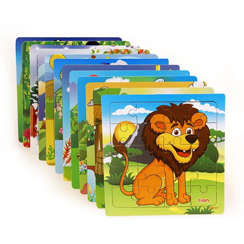 Cartoon Animal Wooden Puzzles Toys 20pcs Baby Early Educational Toys Toddler Wooden Forest Animal Cube Puzzles (20 Pcs)