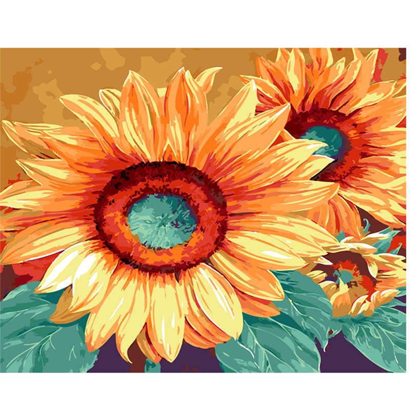 DIY Wall flowers Pictures Acrylic Oil Coloring Painting By Numbers sunflower On Canvas For Unique Gift Home Decor