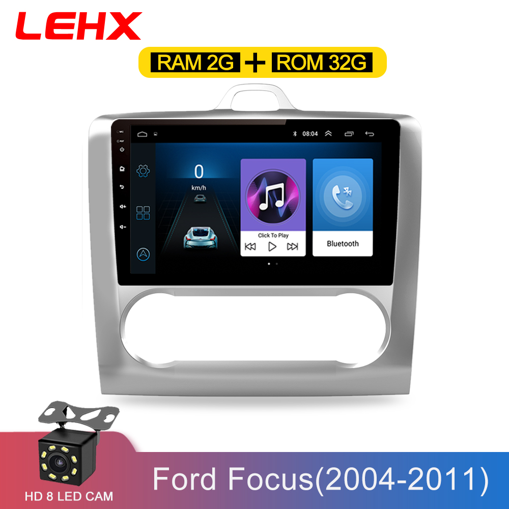 Lehx 2 din 9 Polegada android 8.1 carro multimídia player touchscreen quad-core rádio do carro para 2004 2005 2006-2011 ford focus exi em