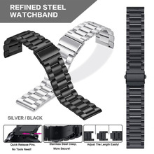Pohiks Classic Three-beads Stainless Steel Strap Metal Watch Band for Amazfit GTS For Smart
