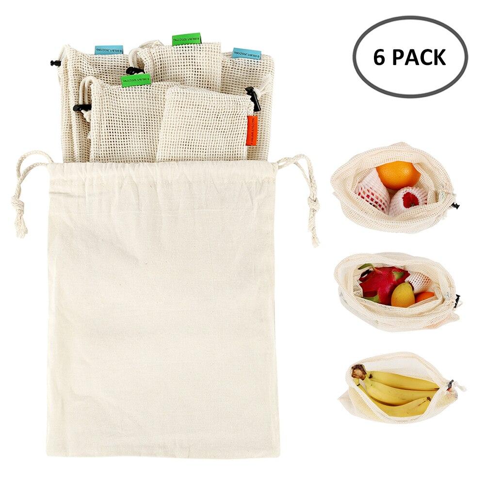 6 stücke Mehrweg Mesh Einkaufstaschen Eco Freundliche Baumwolle Waschbar Kordelzug Einkaufstasche Obst Gemüse Spielzeug Kleinigkeiten Lagerung Pack