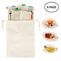 6pcs Reusable Mesh Shopping Bags Eco Friendly Cotton Washable Drawstring Shopping Bag Fruit Vegetable Toys Sundries Storage Pack