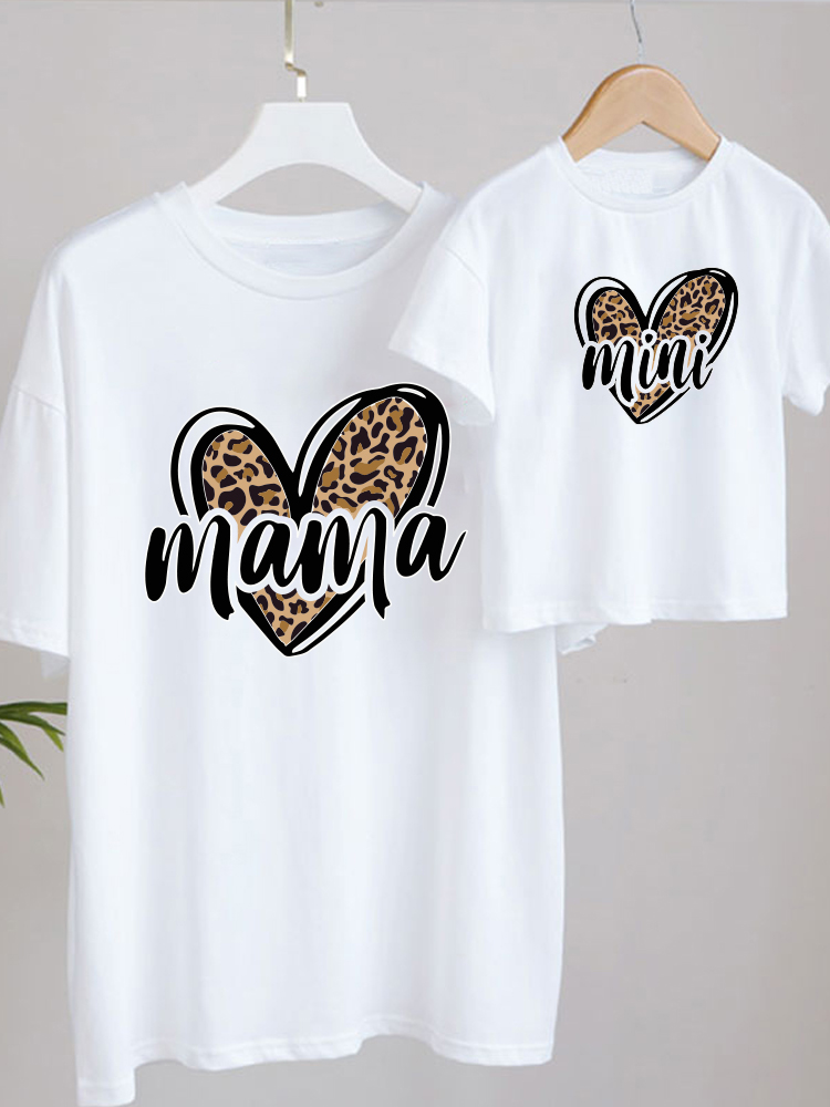 Fashion Family Look MAMA MINI Print T-shirt Mom Mommy and Me Clothes Family Matching Outfits Look Mama and Daughter Clothes