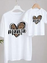 T-shirt imprimé pour maman et fille, tenues assorties, Look de famille, à la mode