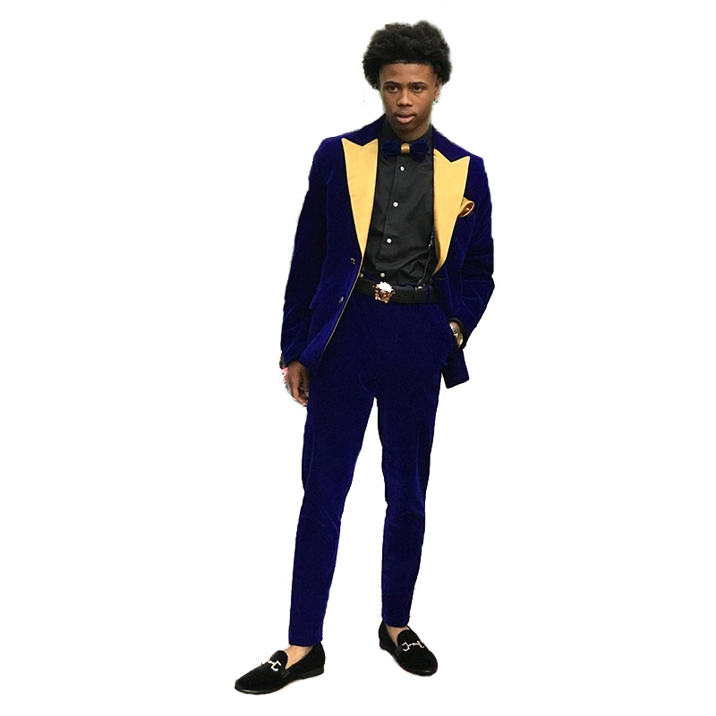 2 Piece Suit Royal Blue Velvet Groom Best Man Tuxedos Mens Wedding Suits Evening Dress Prom Dresses Robe De Soiree(jacket+Pant)