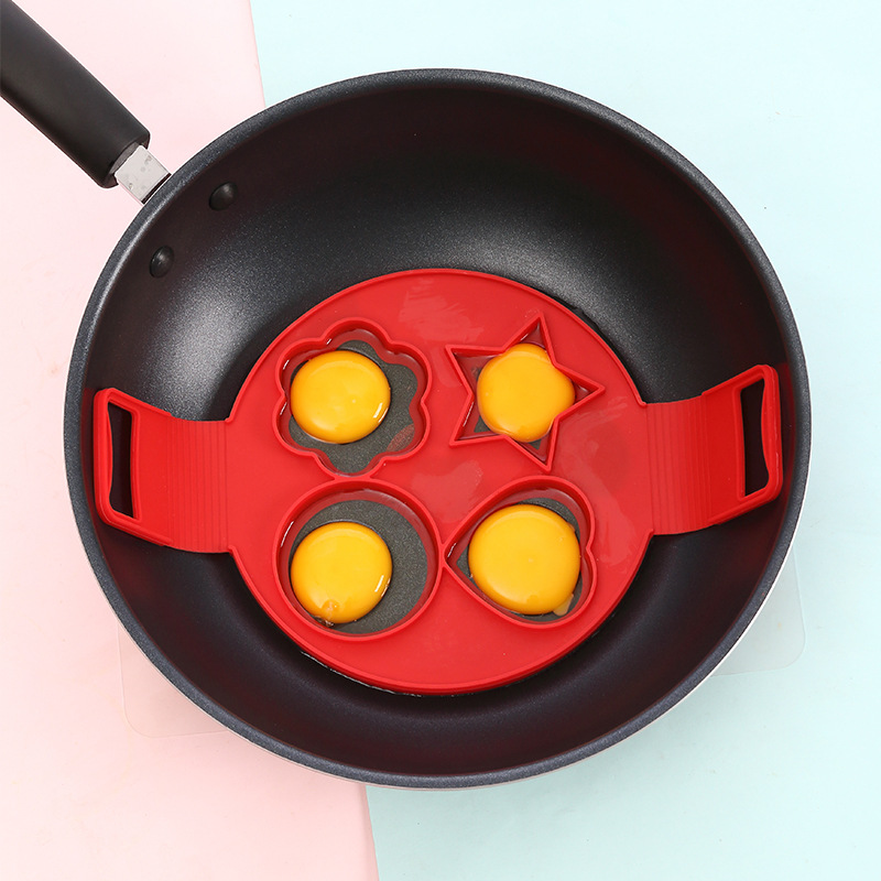 Flip Breakfast Omelette Mold Tool Variety Silicone Four Hole DIY Omelette Love Pancake Silicone Mold Rice Ball Omelette Mould