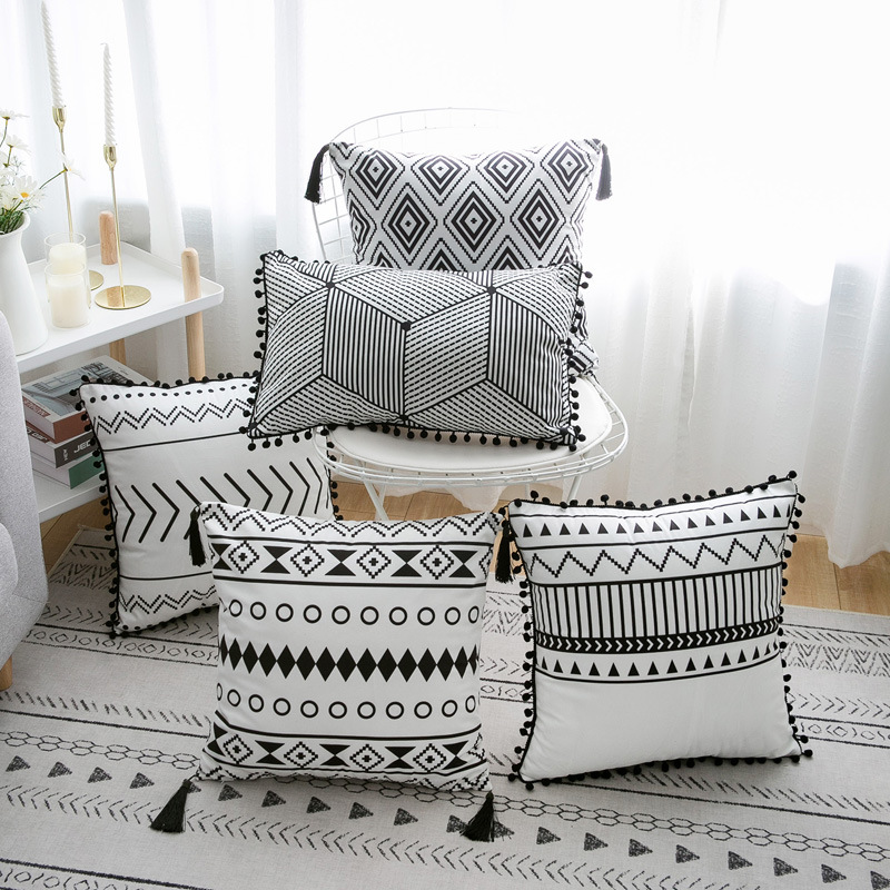 Simple Decorative Cushion Cover White Black Rectangle Pillow Cover Soft 45x45cm  30x50cm Simple Geometric Pom Pom Ball Fringe