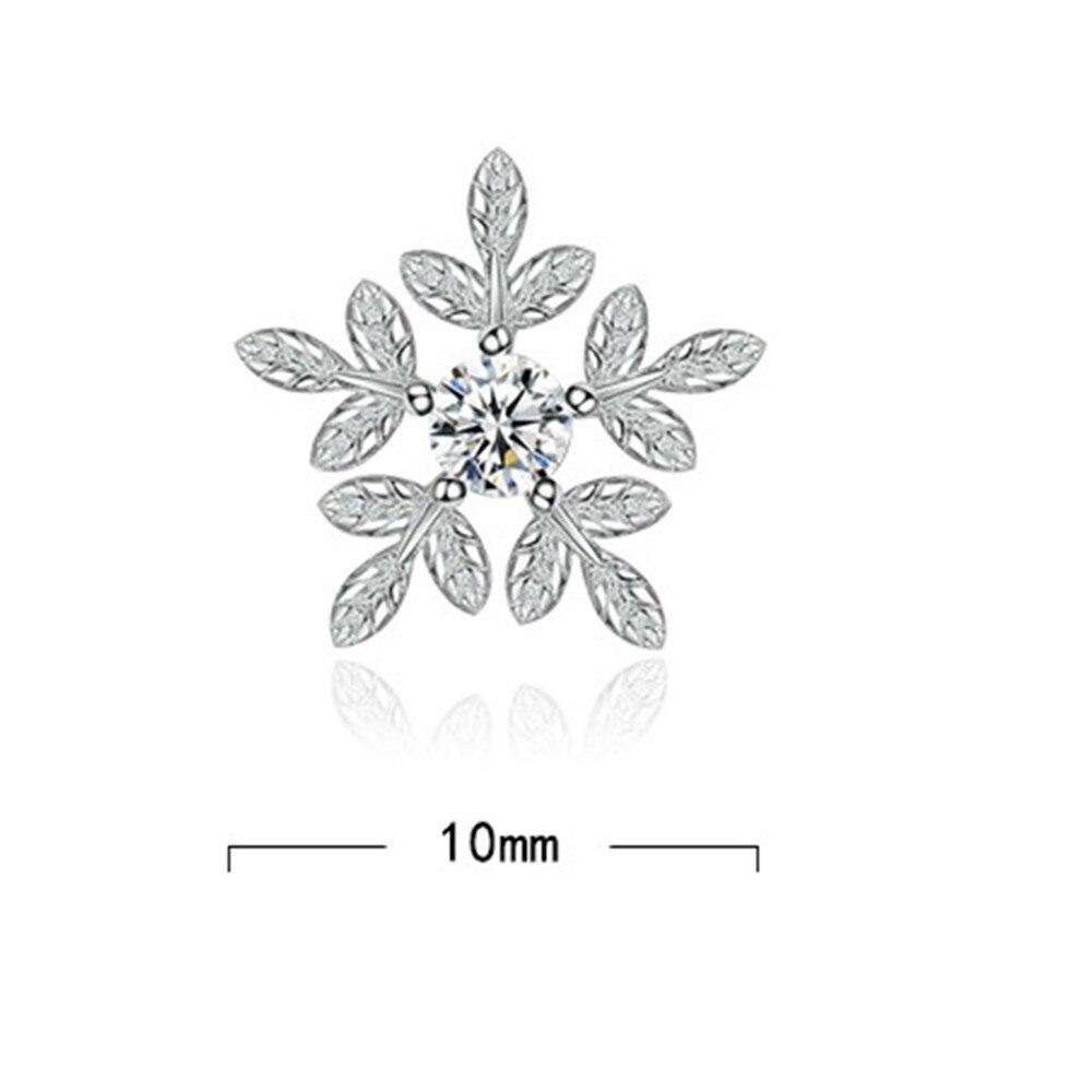 NEHZY 925 Sterling Silver Stud Earrings High Quality Woman Fashion Jewelry Retro Simple Snowflake Leaf Crystal Zircon Earrings