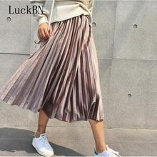 Autumn Women Long Metallic Silver Pleated Skirt Female High Waist Midi Faldas Casual Party Harajuku Velvet Skirts