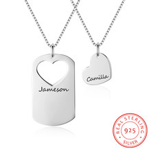 Personalized 925 Sterling Silver Couple Heart ID Necklace Pendant Set Promise Jewelry For Women Men Free Engraving(China)