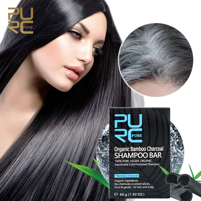Gray White Hair Color Dye Treatment Bamboo Charcoal Clean Detox Soap Bar Black Hair Shampoo Shiny Hair & Scalp Treatment