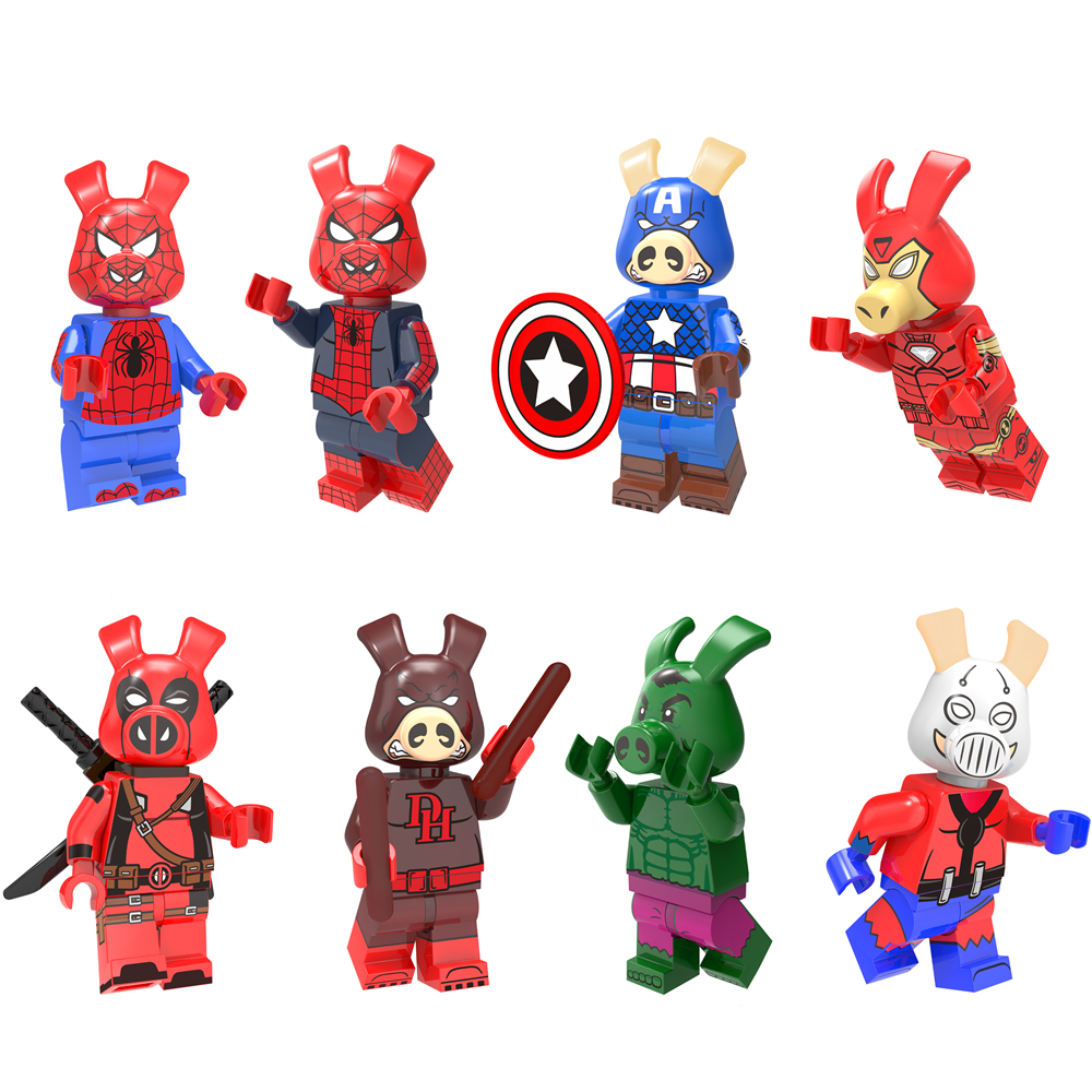 Single Super Hero Figure Spider-Ham Spider Captain Iron Daridevil Hulk Pig Ham Man Pigpool Building Blocks Set Toys Legoing