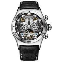 Reef Tiger/RT męskie zegarki sportowe automatyczny zegarek ze szkieletem stalowy wodoodporny zegarek tourbillon z datą dzień reloj hombre RGA703 w Zegarki sportowe od Zegarki na