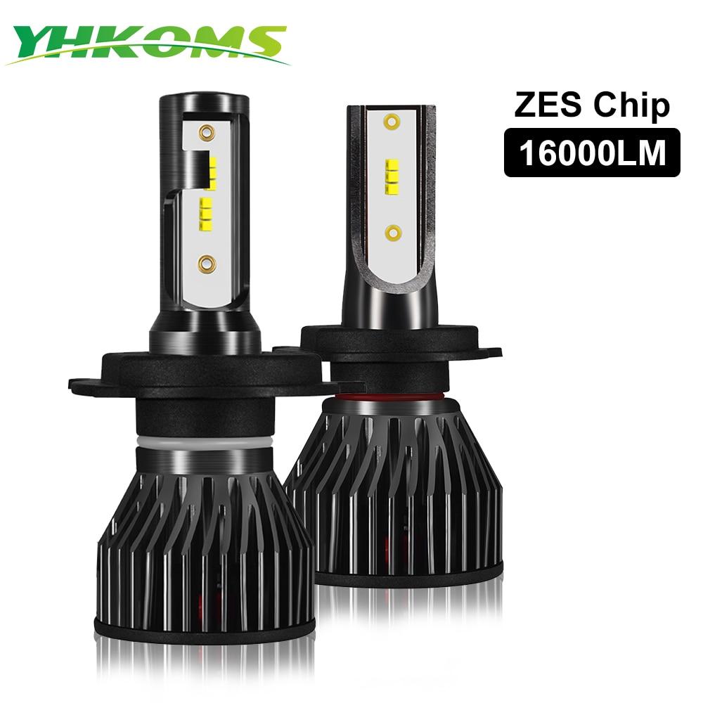 YHKOMS огни автомобиля H4 светодиодный H7 16000LM H1 H8 H11 светодиодный Atuo светодиодные лампы для автомобильных фар лампа HB3 HB4 9005 9006 6500 к белые Противот...