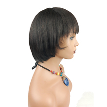 13x4 Short Straight Bob Wigs With Bangs Full Heat Resistant Hair Wig for Women's Cosplay (Black)