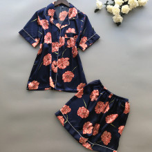 Women 2Pcs Sleep Lounge Pajama Summer Pajamas Short Sleeve S