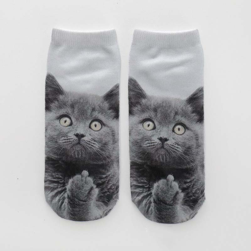 Women's Funny <font><b>Animal</b></font> Cute 3D Print <font><b>Socks</b></font> Women Ankle <font><b>Socks</b></font> <font><b>Unisex</b></font> <font><b>Socks</b></font> Hot Women Fashion Sox Cartoon Cat For Female WZ683 image