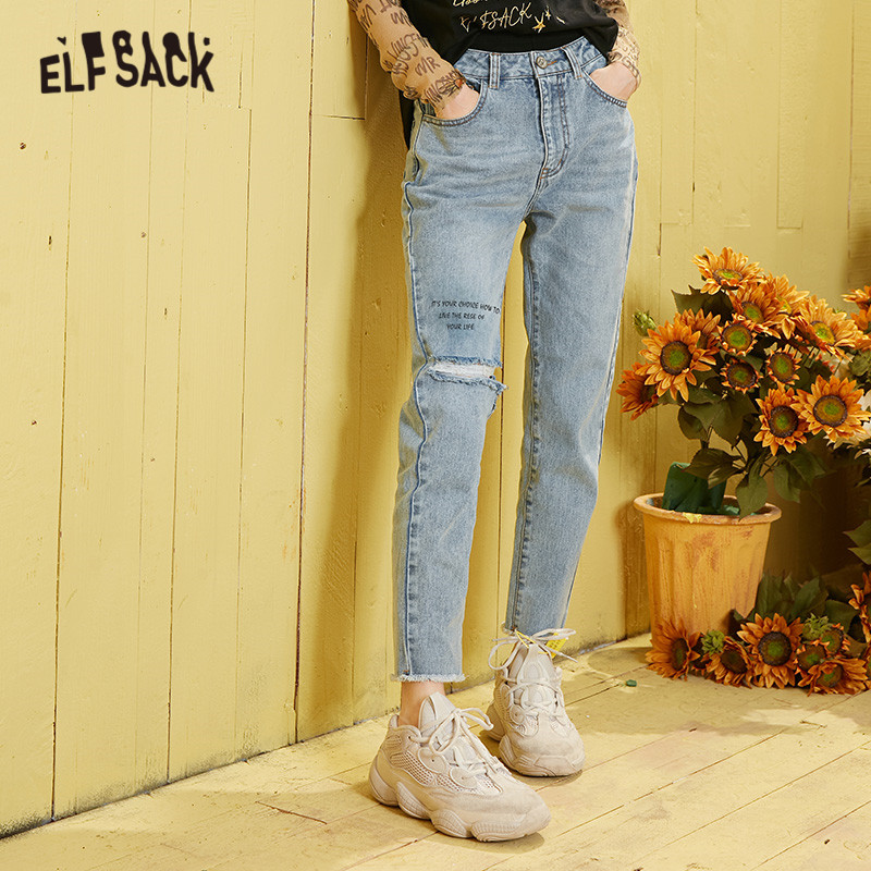 ELFSACK Blue Solid Ripped Washed Straight Casual Jeans Woman 2020 Spring New Letter Raw Hem Korean Style Ladies Daily Trousers