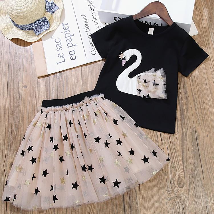 Girls Dress 2020 New Summer Princess Dress Elegant Casual Polka-dot Swan Costumes Party Dresses Children Clothing 3-7Y
