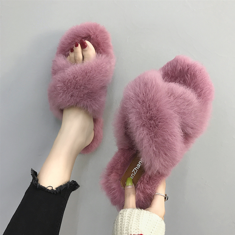 Fleece Plush Slippers For Women Wear 2020 Cute Net Red Sandals Tide Shoes Lazy Household Sandals Cotton Slippers In Winter