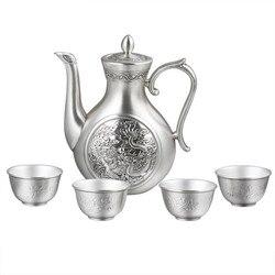 Luxe Sterling Zilveren Gift Dragon En Phoenix S999 Zilver Wijn Thee Set Heupfles Wijn Huishouden Food Grade Zilverwerk Pot cups