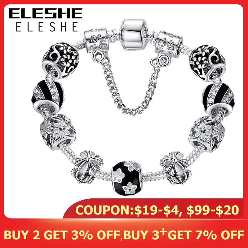 ELESHE Authentic Enamel Silver Crystal Beads Charm Bracelet For Women With Safety Chain Strand Bracelet Bangle Mother's Day Gift