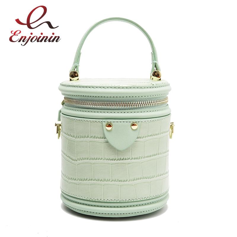 Genuine Leather  Alligator Fashion Women Bucket Design Purses And Handbags Casual Tote Bag Crossbody Bag Female Shoulder Bag