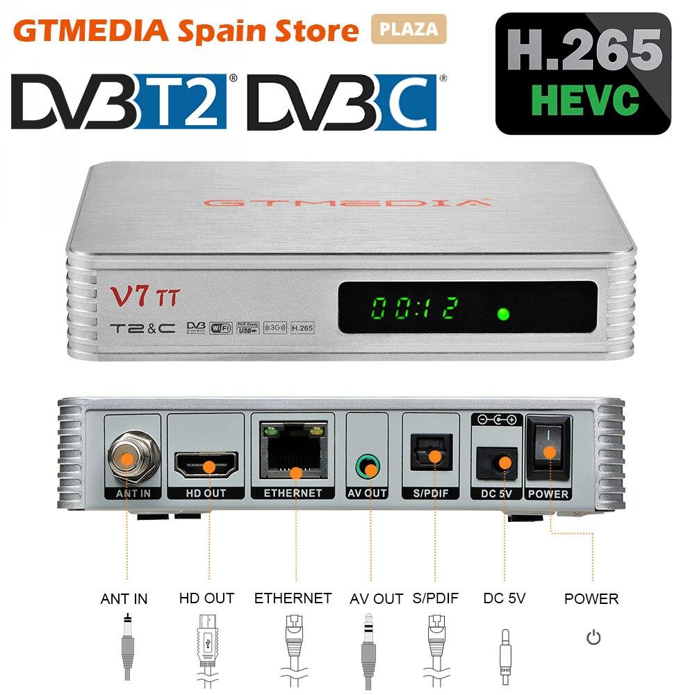 Оригинальный наземный ТВ-приемник GTMEDIA V7 TT DVB-T/T2 DVB-C декодер H.265 HEVC 10-битный тюнер с USB Wi-Fi YouTuBe итальянский португальский