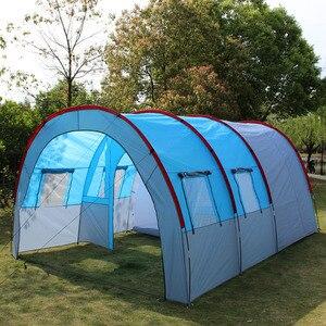 Image 2 - テントアウトドアキャンプ大キャンプテント防水キャンバスグラスファイバー 5 8 人家族トンネル 10 人のテント機器屋外