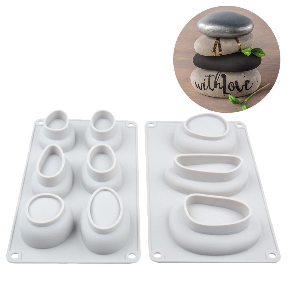 DIY Silicone Soap Mold For Handmade Soap Making 3D Cobblestone Shape Cake Pastry Mold Square Soaps Molds