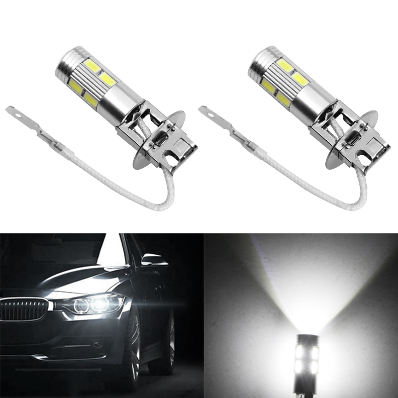 2PCS Car Light Quality Aluminum Alloy H3 10 LED 5630 Patch Fog Light LED Car Light Bulb Tail Light Steering Drive Lamp High Beam