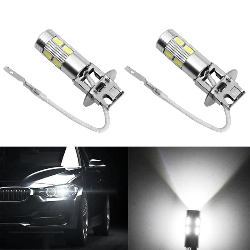 2PCS Car Light Quality Aluminum Alloy H3 10 LED 5630 Patch Fog Light LED Car Light Bulb Tail Light Steering Drive Lamp High Beam