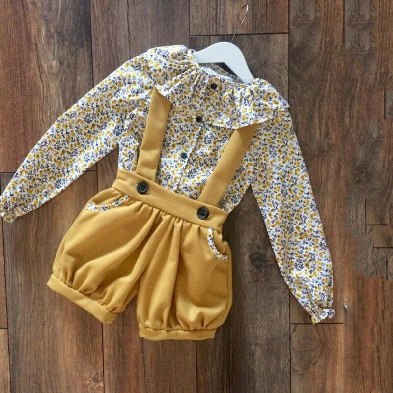 Fashion Toddler Baby Girl Clothes Floral Tops Cotton Flower Overalls Suit+Blouse Summer Outfit Set Lovely Clothing