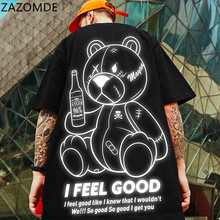 ZAZOMDE Men's tshirt Unisex Harajuku Cool Print Short Sleeve t shirt Male Streetwear Top Casual Bear T-shirts Oversized Men
