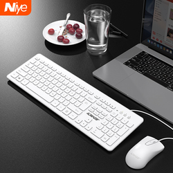 Teclado silencioso e mouse conjunto com fio ergonômico mudo keycap escritório gaming usb teclado de tamanho completo mouse combo desktop teclado