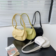 Korean Style Youth Women Fold Shell Bag Solid Color Small Shoulder Bag Lady Trendy Messenger Bag PU Leather Underarm Bag