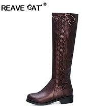 REAVE CAT winter women's shoes Knee High Boots flat low heels pointed toe cross-tied decor black bota feminina big size 45 46
