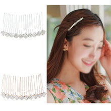 Elegant Colored Diamond Flower Hair Comb Alloy Women Girls Bridal Decor Wedding Cilps Jewelry Accessories 2 Color