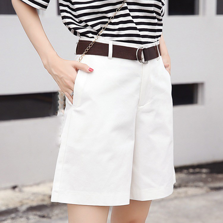 Tide Vogue Pop Tide Fashion Nice Solid Casual Womens  Pockets High Waist Shorts Summer Chic Bottom Belt Zipper Casual Shorts