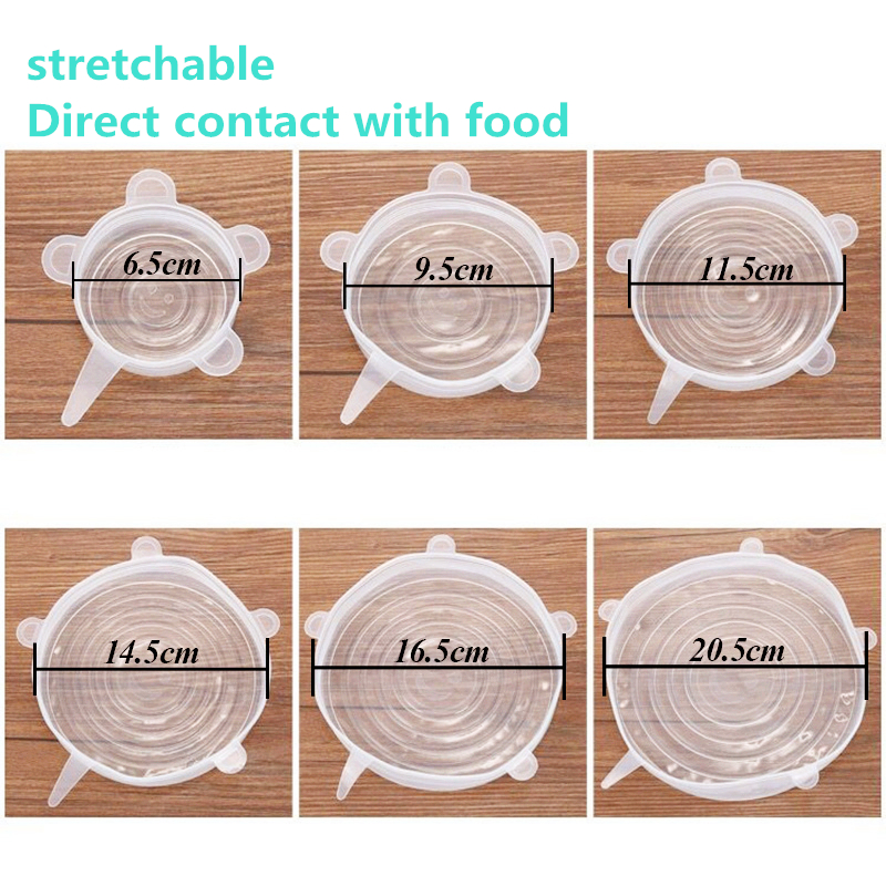 Image 2 - 6pcs Reusable silicon stretch kitchen Cover universal lid Silicone food wrap bowl pot lid silicone cover pan cooking Kitchen cap-in Food Covers from Home & Garden