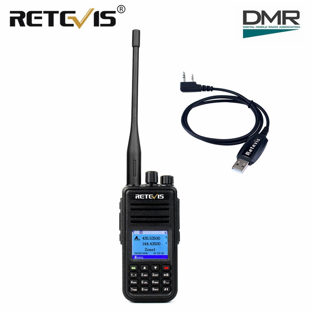 Dual Band DMR Digital Radio Retevis RT3S Walkie Talkie UHF VHF Radio GPS DCDM TDMA Ham Radio Staion Dual Time Slot VOX + Cable