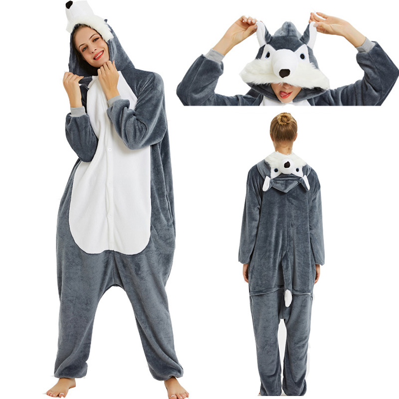 Unisex Adult Winter Pajamas Hooded Animal Cartoon Pajamas Kigurumi Female Sleepwear Wolf Stitch Shark Halloween Party Clothes