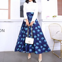 QRWR Elegant Ankle Length Summer Skirts Womens 2020 Floral High Waist Multi Colo