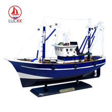 LUCKK America Style Fishing Boat Blue 45*13*31cm Luxurious Wooden Sailboat Toys Sailing Model Home Decor luckk 80cm diy danmark assembling building kits wooden model ships exquisite home interior decoration crafts sailboat toys gift