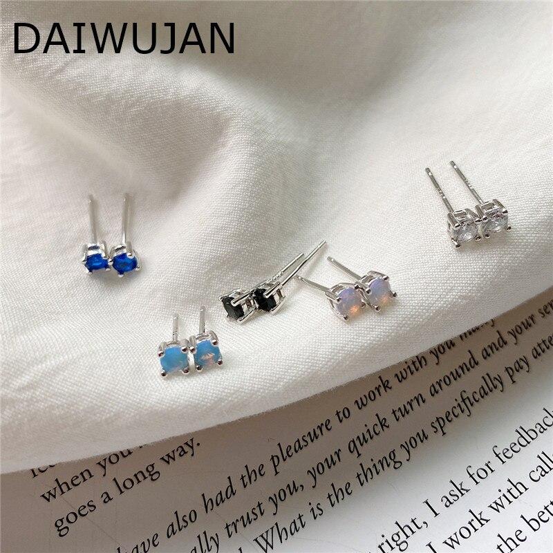 DAIWUJAN AAAA Zircon Opal Round Mini Stud Earrings Wedding 925 Sterling Silver Sapphire Crystal Earring For Women Jewelry Gift