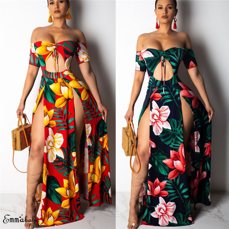 New Women Floral Maxi Dress Prom Evening Party Summer Short Sleeve Beach Boho Casual Off-shoulder Long Sundress Green Red